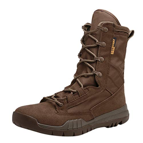 Mens Military Combat BootsMid Calf High Boots Wear Resistant Walking Hiking Outdoor Shoe Goosun Anti Skid Desert Boots High top Sneakers Flat Ankle Boot Lace up Shoes Brown