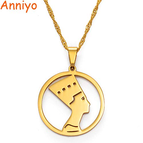 NCDFH Queen Pendant Nefertiti Necklaces for Women Girls African Jewelry Gold Color Jewelry Gift Gold 60cm Thin Chain