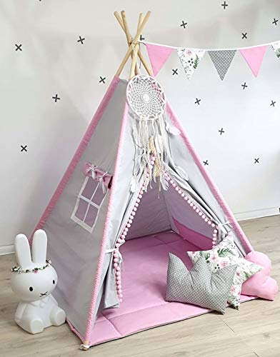 TS Tipi Teepee - Juego de 4 accesorios de tienda de campaña para niños, tienda india, cojín y manta, 6 colores (2) (gris y rosa)