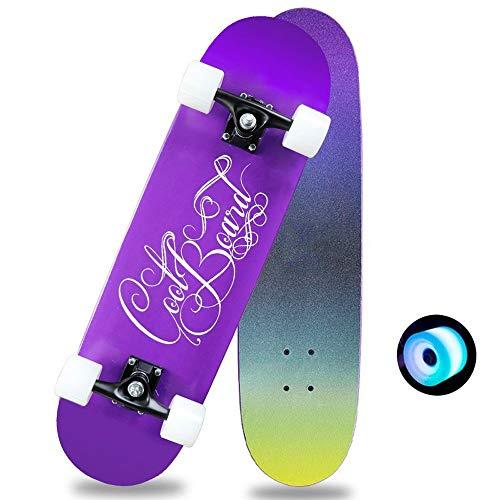Taste life Anfänger Fliegen Skateboard Komplett 31 Zoll-lila leuchtende Rad-Muster