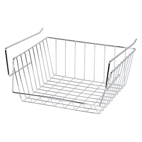 MSV Hängekorb aus Metall - 33x27x13cm - Silber - Aufbewahrungs-Korb für Küchenschränke Kleiderschränke Regale Unterbauschrank Unterbau-Regal