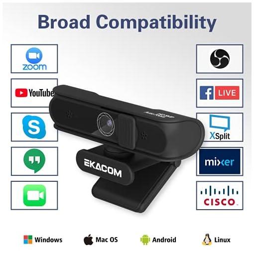 EKACOM Webcam 1080P Full HD con Microfono,Cámara Web con Cubierta de Privacidad ,Usb Web Camera PC Plug y Play para… 3