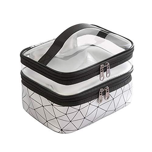 Wangxin® Cosmetic Bag One Pack Double Usage Double Top Et Bottom Femmes Ins Petit Style Portable Simple Sac De Lavage De Grande Capacité Sac Cosmétique Voyage Silver Gray