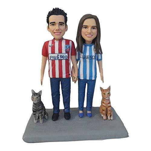 Doppelpaar Puppe mit zwei Katzen Figur Keramik Puppe Mouldeling Ton Figuren Fimo Kunstpuppen Kunsthandwerk Artikel Skulpturen Menschen Gesicht