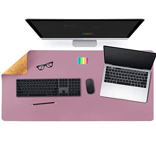 Aothia Tappetino da scrivania Eco bifacciale in Sughero e Pelle PU, Tappetino per Mouse, Tappetino da scrivania Morbido e Impermeabile per Ufficio/casa (91x43cm,Viola)