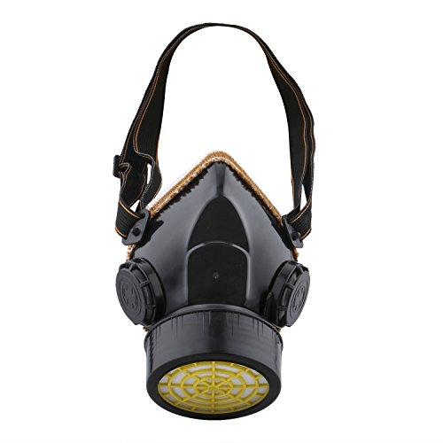 Ewolee Masque Anti-Poussiere Protection Peinture Respirateur chimique industriel Contre Vapeur Toxique, Masque Cartouche Protection Soupape de Facile à Respirer, Noir
