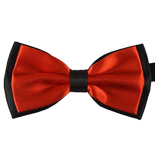 S.R HOME Noeud Papillon double couche orange rouge pour mariage, travail ou tout autre événement
