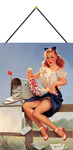 FS Pinup Girl brievenbus blikken bord gebogen metalen signaal 20 x 30 cm met koord