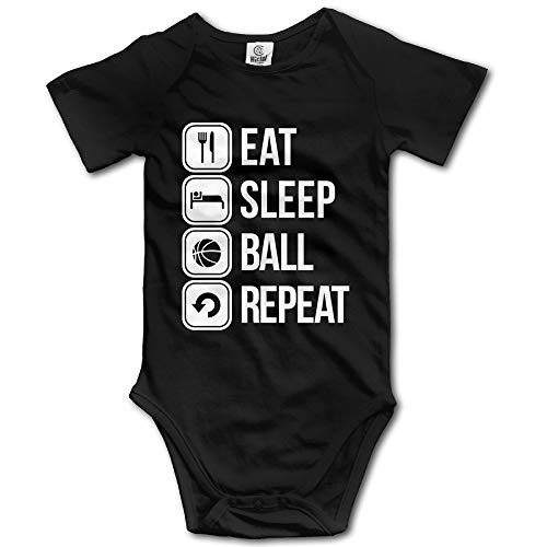 FGRFQ Combinaison Bébé Unisex Eat Sleep Basketball Repeat Baby Rompers Baby Onesie Short Slev