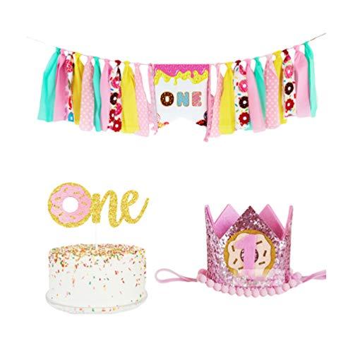 Amosfun eerste verjaardag benodigdheden hoge stoel een Banner donut Bunting Banner voor Baby Jongen Meisjes voor Thuis Party Favor (Banner, hoed, Cake Topper) 250*17*21cm Afbeelding 1