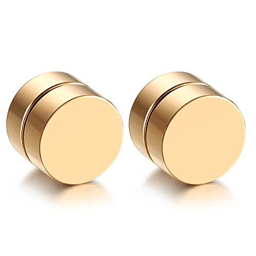 JewelryWe Schmuck Herren Damen Ohrringe Edelstahl Magnet Ohrstecker Fakeplugs Fake Plug Tunnel Ohrclips Ohne Loch Gold 8mm