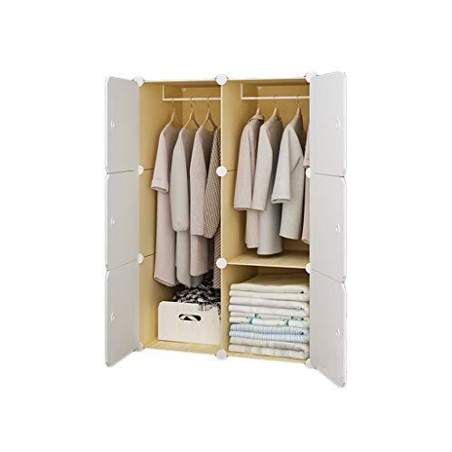 QIFFIY Armario Ropero Armario portátil for la Ropa del Dormitorio Organizador de Almacenamiento de Cubos Multiusos Armario, Blanco, 3 Cubos y 1 Secciones Colgantes (Color : White, tamaño : B)