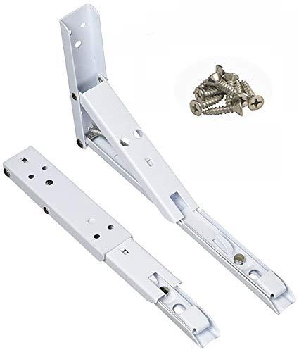 MINGZE Soportes para estantes para montaje en pared de 2 paquetes, con resortes plegables de 90 grados para fregaderos bajo cubierta, microondas, camas y otros muebles (8 pulgadas / 19.5cm)