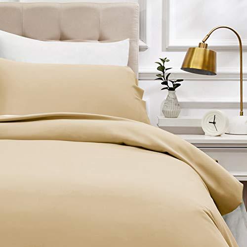 Amazon Basics - Juego de funda nórdica de satén de algodón de 400 hilos - 135 x 200 cm/ 50 x 80 cm x 1, Beige
