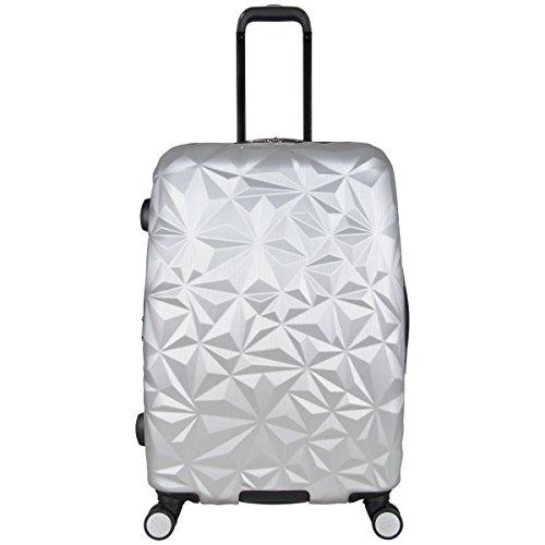 Aimee Kestenberg Women's Geo Chic 24' Hardside Expandable 8-Wheel Spinner Checked Luggage, Metallic Light Silver