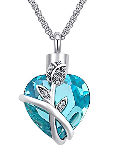 Urn Necklaces for Ashes Love Heart Blue Crystal...