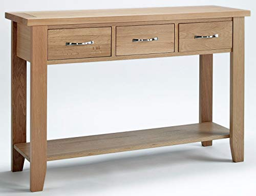 Hallowood Camberley 3 Drawer Console Table in Light Oak Finish | Solid Wooden Hall/Side/End/Telephone Stand, Large