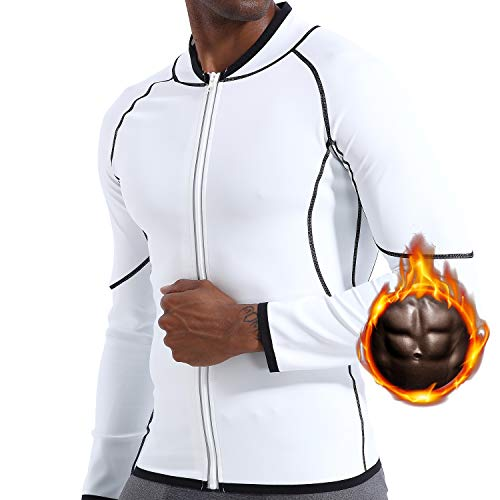 Men Sweat Sauna Suit Workout Shirt Weight Loss Body Shaper Fitness Slimming Jacket Gym Top Clothes Shapewear Long Sleeve White