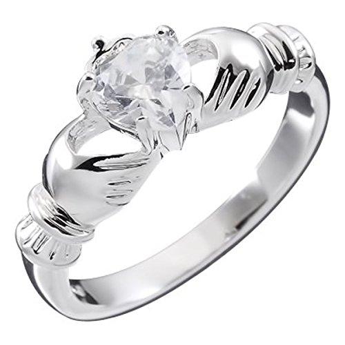 GWG Jewellery Anelli Donna Regalo Anello Argento Sterling Claddagh con Cuore in CZ Bianco Diamante, Mani e Corona - 6 per Donne