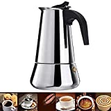 NARCE Stainless Steel Percolator Coffee Maker Stovetop Espresso Maker Moka Pot Coffee (9cup-450MLbroad base)