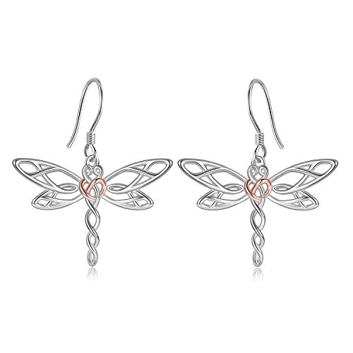 Dragonfly Dangle Earrings for Women Sterling Silver Celtic Knot Irish Jewelery Gifts for Girls