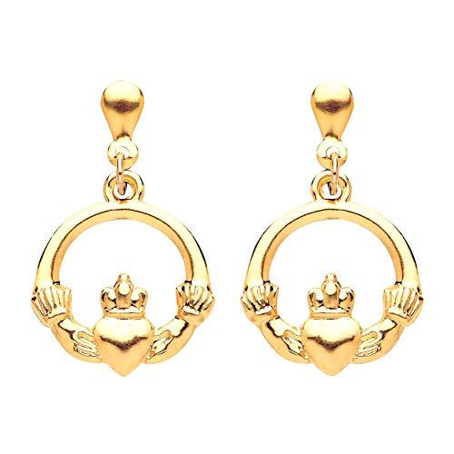 Da donna in oro giallo 9K con Claddagh celtico goccia orecchini pendenti gioielli–Irish–fornito in confezione o cofanetto regalo
