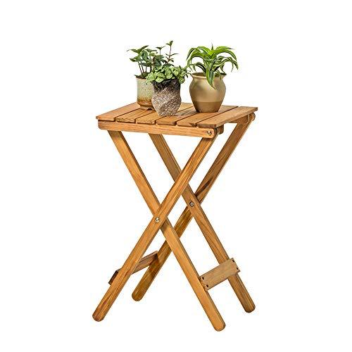 GF Support de Fleurs Multifonctions, Nordic Minimalist Support de Fleurs en Bois Salon Balcon Table Pliante paresseuse Table Basse pour extérieur Petite Table Home