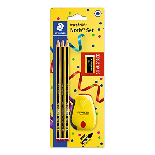 STAEDTLER 120 SBK3P2 Noris Edición Limitada Feliz Aniversario - Blister con 3 lápices de grafito Noris HB de Grafito, Afilalápices con depósito Noris + GRATIS goma de borrar Noris