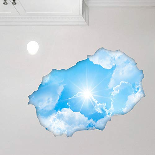 Sticker 3D Effekt | Wandaufkleber Himmel - Tapete Dekoration optische Täuschung Raum und Wohnzimmer | 60 x 90 cm