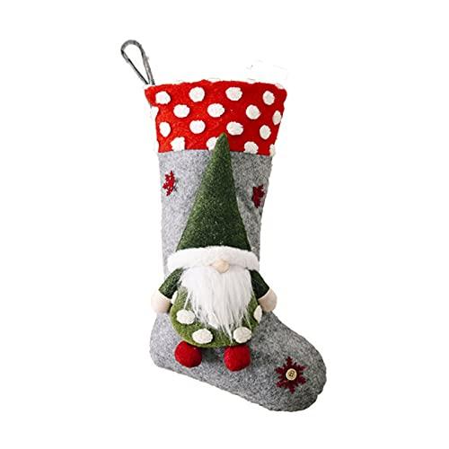 zhangsan Calcetín de Navidad, bolsa de caramelos, con una muñeca sin cara, bonitos calcetines colgantes para chimenea, familia, Navidad, decoración de temporada.