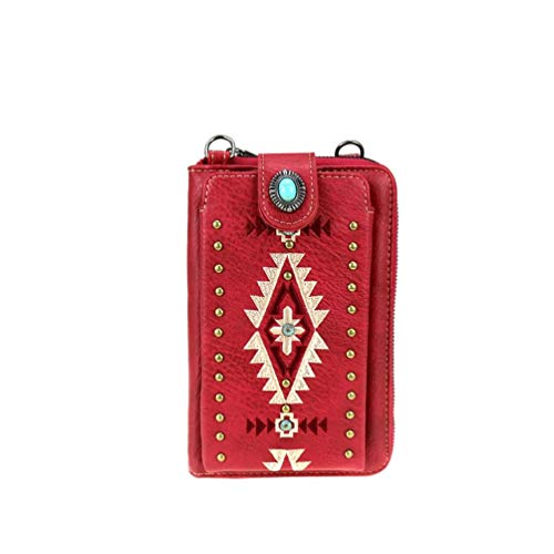 Montana West Western - Cartera para smartphone, color Rojo, talla 20 x 13 x 6 cm