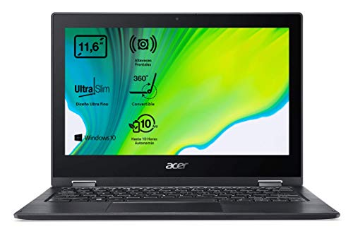 Acer Spin 1 SP111-33 - Portátil Táctil 11.6' HD (Intel Celeron N4020, 4GB RAM, 64GB eMMc , Intel UHD Graphics 600, Windows 10 Home S), Negro - Teclado Qwerty Español