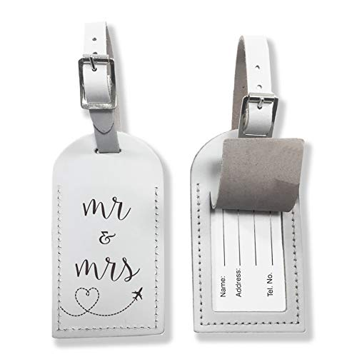 Mr & Mrs Engraved White Leather Luggage Tag for Him for Her, Suitcase or Travel Cases Custom Wedding Gift, His & Hers x1 Genuine UK Leather Travelling Honeymoon or Holiday Accessory (Single)