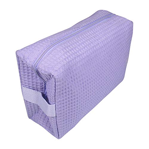The Coral Palms Cotton Waffle Travel Makeup Case, Cosmetic Makeup Bag Organizer, Women's Travel Toiletry Case in Lavender