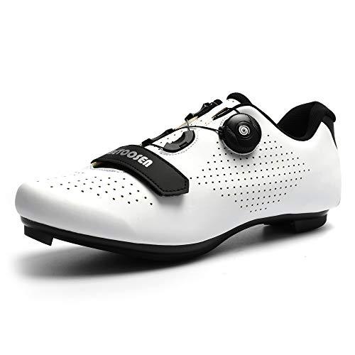Betoosen - Calzado de ciclismo de carretera, para hombre y mujer, diseño transpirable y con cordones rápidos, calas compatibles con SPD, rojo