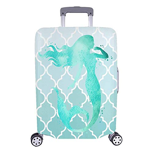 InterestPrint Mermaid Moroccan Trellis Luggage Cover Suitcase Protector Fits 26'-28' Luggage