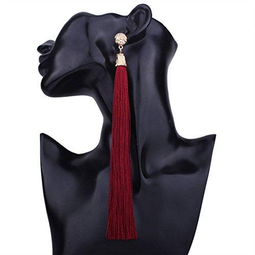 Hypoallergene Modieuze Mode Oorbellen Persoonlijkheid Wild Retro Effen Kleur lange Kwastje Oorbellen Vrouwelijke Sieraden, wijn rood