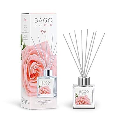 BAGO home Fragranced Oil Reed Diffuser Set - Rose | Rose, Green Violet & Powdered Musk Notes | 100 ml 3.4 oz