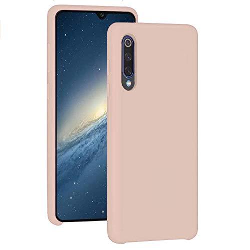 Funda para Xiaomi Mi 9/Mi 9 SE Teléfono Móvil Silicona Liquida Bumper Case y Flexible Scratchproof Ultra Slim Anti-Rasguño Protectora Caso (Pink, Xiaomi Mi 9)