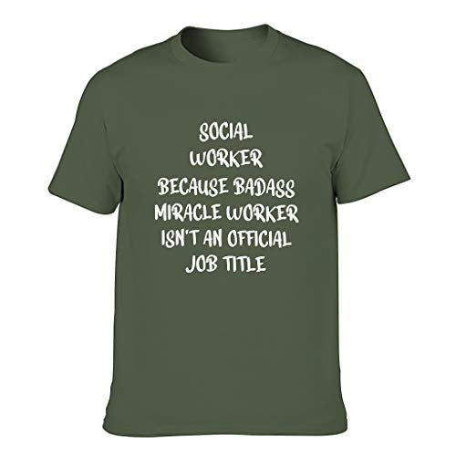 COMBON Shop Social Worker T-Shirts für Herren, lustiger Humor Gr. XL, armee-grün