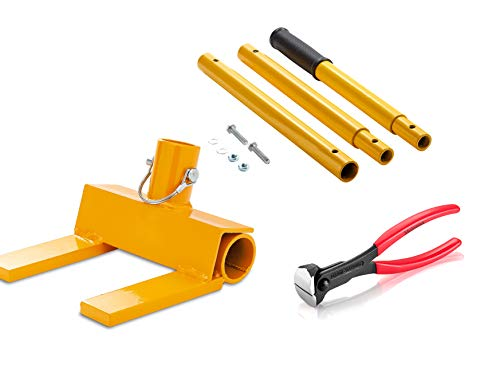 Pallet Buster Deluxe with Nail Cutting Pliers   Deck Wrecker - Best Wrecking Bar for Breaking Pallets - Steel Head - 2 Secure Locking Pins - Yellow - Molomax