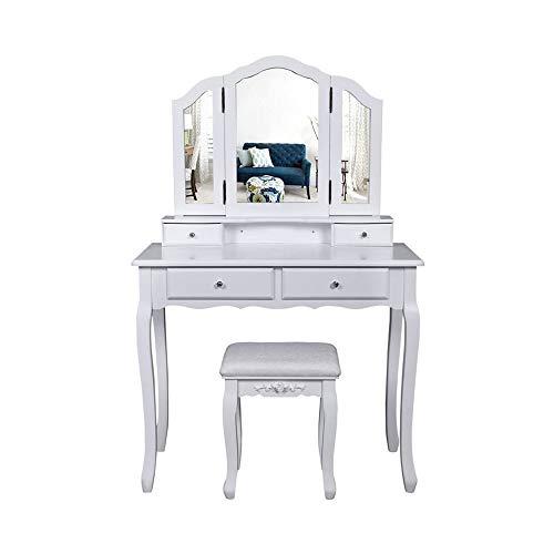 Make-up Bureau met spiegel, kaptafel en Kruk Set, met 4 grote lade en Kruk, eenvoudig te monteren, geschikt voor de woonkamer en slaapkamer (Tri-Folding Mirror),White