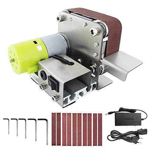 Weytoll Mini Lijadora de Banda lijadora eléctrica Pulidora 7 velocidades variables con 10 Bandas de Lijado para Pulir Madera/Acrílico/Metal