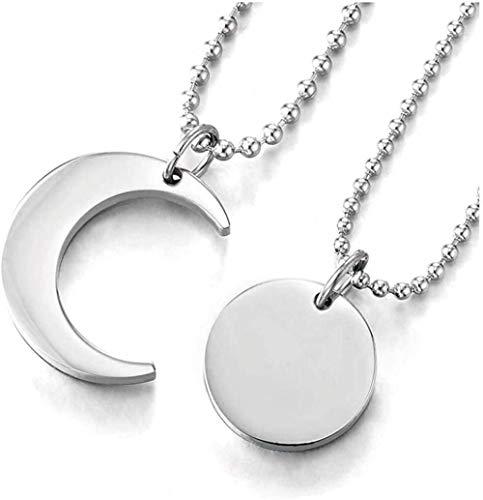 Aluyouqi Co.,ltd Collar Un Par De Parejas De Amantes De Acero Collar con Colgante De Luna Y Sol A Juego para Hombres Mujeres Amigos