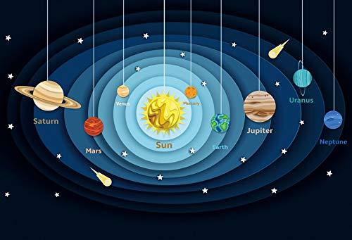 Fondo de fotografía de patrón de Fiesta de Estudio de Aprendizaje de bebé de Planetas de Galaxia de Dibujos Animados para Estudio fotográfico A1 7x5ft / 2,1x1,5 m