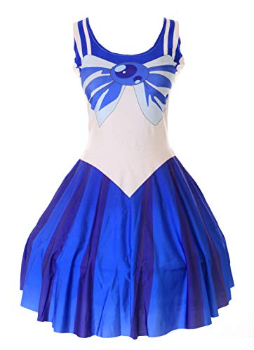 Kawaii-Story SK-03 Sailor Moon Merkur - Vestido para mujer (talla S-M), color azul