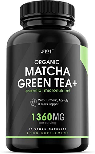 Organic Matcha Green Tea Extract Capsules - 1360mg - Boosted with Turmeric, Acerola & Black Pepper, 60 Vegan Capsules - Made in UK.