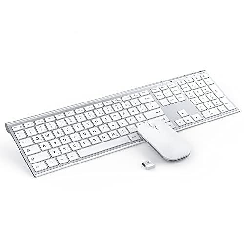 Jelly Office Ultraslim Tastatur und Maus Set, 2.4G Kabellose Tastatur mit Funkmaus Wiederaufladbar Kombi für PC, Laptop, Smart TV, QWERTZ Deutsches Layout, Weiß und Silber