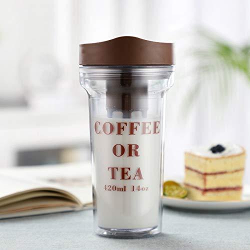 donfhfey827 Taza de café portátil Taza de extracto frío portátil Taza de Flor de Pera Doble con Filtro Taza de Agua Taza de acompañamiento Creativa Taza de Burbuja fría