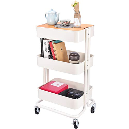 3-Tier Metal Utility Rolling Cart Storage Organizer with Cover Board for Office Home Kitchen Organization Cream White
